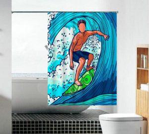וילון אמבטיה בד גולש גלים