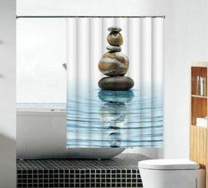 וילון אמבטיה בד חלוקי נחל כחלחלים