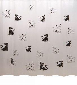 וילון אמבטיה בד חתולים שחור לבן