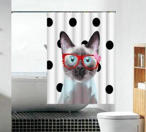 וילון אמבטיה בד חתול עם משקפיים