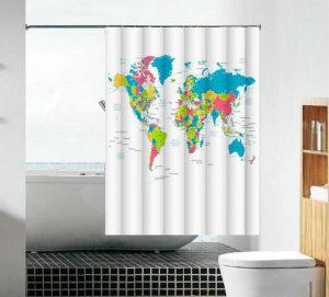 וילון אמבטיה בד מפת העולם