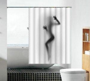 וילון אמבטיה בד צללית אישה