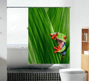 וילון אמבטיה בד צפרדע ירוקה