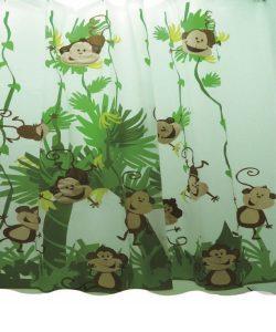 וילון אמבטיה בד קופים
