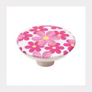 """ידית כפתור 743 – 50 מ""""מ פרחים ורודים A3"""