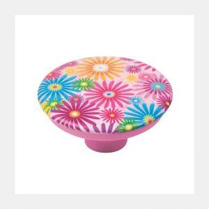 """ידית כפתור 743 – 50 מ""""מ פרחים צבעוניים A4"""