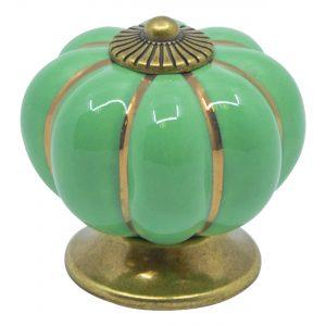 ידית כפתור קרמיקה P15 – ירוק עם עיטור זהב