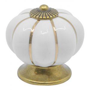 ידית כפתור קרמיקה P15 – לבן עם עיטור זהב