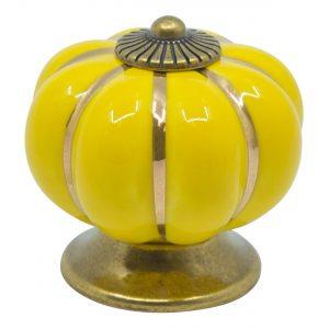 ידית כפתור קרמיקה P15 – צהוב עם עיטור זהב