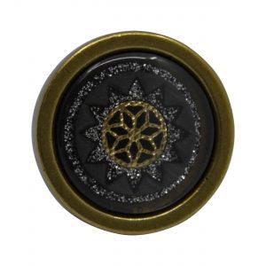 ידיות כפתור למטבח ורהיטים P22 – ברונזה עתיקה עם דקור שחור