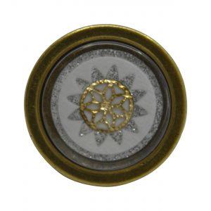 ידיות כפתור למטבח ורהיטים P22 – ברונזה עתיקה עם דקור לבן