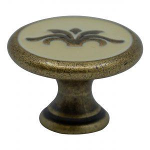 """ידיות כפתור למטבח ורהיטים 24177 – 30 מ""""מ ברונזה פירנצה + אמייל שנהב"""