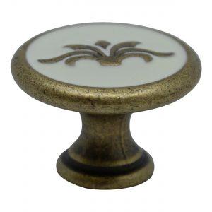"""ידיות כפתור למטבח ורהיטים 24177 – 30 מ""""מ ברונזה + לבן"""