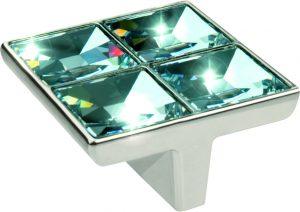 """ידיות כפתור למטבח ורהיטים 24202 – 57 מ""""מ כרום/קריסטל STRASS"""