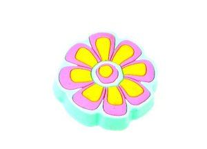 ידית כפתור גומי AB004 – פרח כחול + ורוד