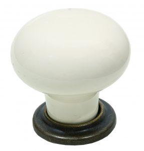 ידיות כפתור למטבח ורהיטים T63 – ברונזה עתיקה / קרמיקה  קרם
