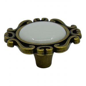 ידיות כפתור למטבח ורהיטים T452 –  ברונזה עתיקה / קרמיקה  קרם