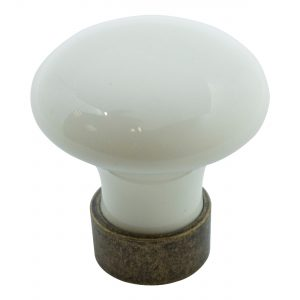 ידיות כפתור למטבח ורהיטים T743 – ברונזה עתיקה / קרמיקה  קרם
