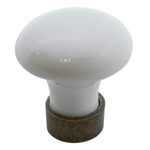 ידיות כפתור למטבח ורהיטים T743 – ברונזה עתיקה / קרמיקה  לבן