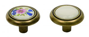 ידיות כפתור למטבח ורהיטים T801 – ברונזה עתיקה / קרמיקה  קרם