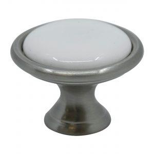 ידיות כפתור למטבח ורהיטים T856 –  ניקל מוברש / קרמיקה  לבן