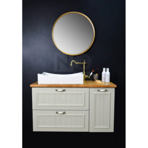 ארון  אמבטיה דגם רסטיק דה פרובנס כולל כיור אינטגרלי או משטח עץ