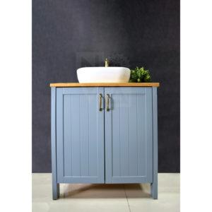 ארון אמבטיה דגם כפרי כולל כיור אינטגרלי או בוצ'ר עץ אלון