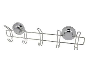 """קולב חמישייה נירוסטה – חיבור ע""""י ואקום או הדבקה ללא קדיחה סידרת lock."""