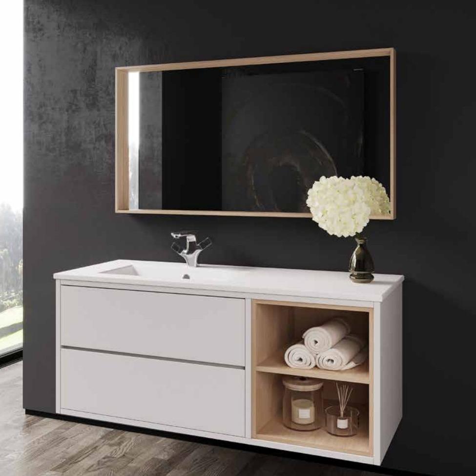 ארון  אמבטיה דגם סטריקט כולל כיור או משטח עץ