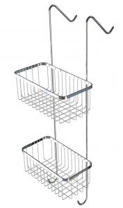 מדף רשת כפולה לתליה על מקלחון – נירוסטה או שחור