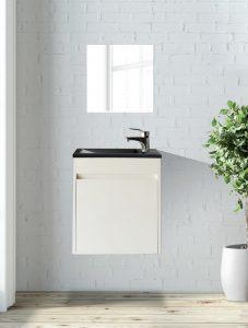ארון  אמבטיה דגם סולו לבן כיור שחור כולל כיור או משטח עץ