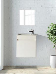 ארון  אמבטיה דגם סולו לבן כיור לבן כולל כיור או משטח עץ