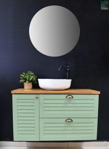ארון אמבטיה דגם טנג'יר  כולל כיור או משטח עץ – 80