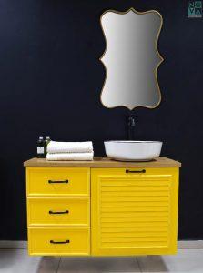 ארון  אמבטיה דגם גארדה כולל כיור או משטח עץ – 80