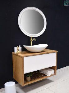 ארון  אמבטיה דגם עלית כולל כיור או משטח עץ