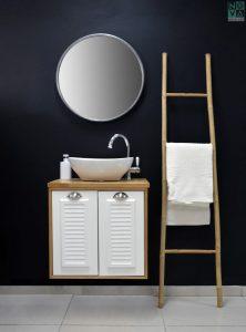 ארון  אמבטיה דגם סיציליה תריס כולל כיור או משטח עץ