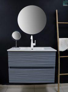 ארון  אמבטיה דגם גלים כולל כיור או משטח עץ
