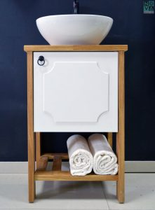 ארון אמבטיה דגם סהר כולל כיור או משטח עץ