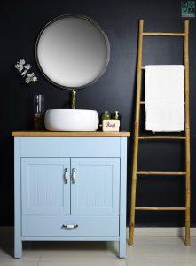 ארון אמבטיה דגם פלורנס כולל כיור או משטח עץ