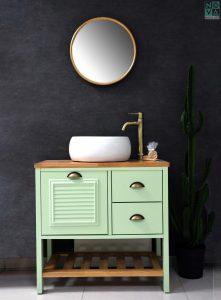 ארון אמבטיה דגם כפרי וסולם  כולל כיור או משטח עץ – 80