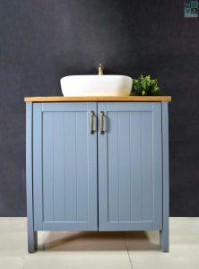 ארון אמבטיה דגם כפרי כולל כיור או משטח עץ