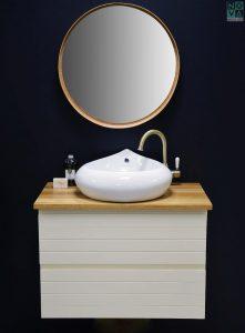 ארון  אמבטיה דגם  סליק פסים כולל כיור או משטח עץ