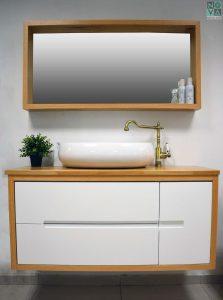 ארון  אמבטיה דגם טופ כולל כיור או משטח עץ – 100