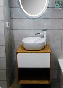 ארון  אמבטיה דגם מיני אלון כולל כיור או משטח עץ