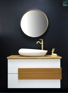 ארון  אמבטיה דגם לוטם כולל כיור או משטח עץ
