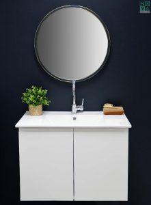ארון  אמבטיה דגם סליק כולל כיור או משטח עץ