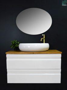 ארון אמבטיה תלוי כולל כיור או משטח עץ G