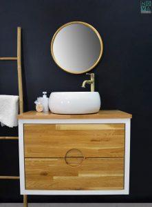 ארון  אמבטיה דגם גולן כולל כיור או משטח עץ