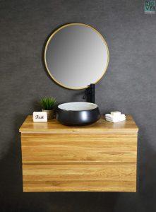 ארון אמבטיה דגם אלונים כולל כיור או משטח עץ