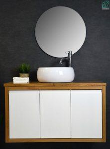 ארון  אמבטיה דגם ארוגות כולל כיור או משטח עץ
